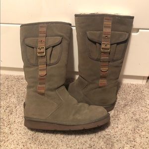UGG Tall Green Boots w/ side pocket detail, SZ. 10